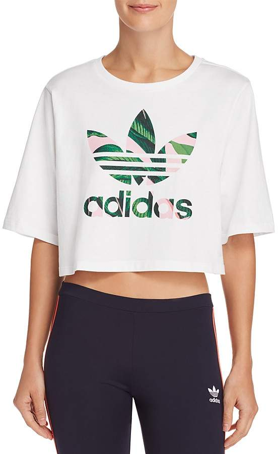 Pink Adidas Originals Tops Crop T Shirts   JD Sports