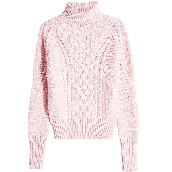 Mary Katrantzou Wool Cableknit Turtleneck Pullover ($635) ❤ liked ...