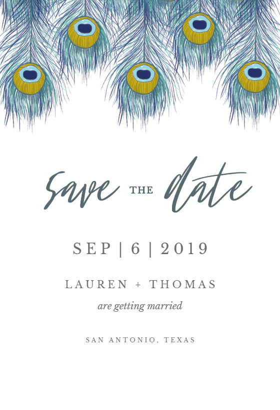Peacock Feather Save The Date Card Template Free Greetings Island Save The Date Cards Card Templates Free Indian Wedding Invitation Cards