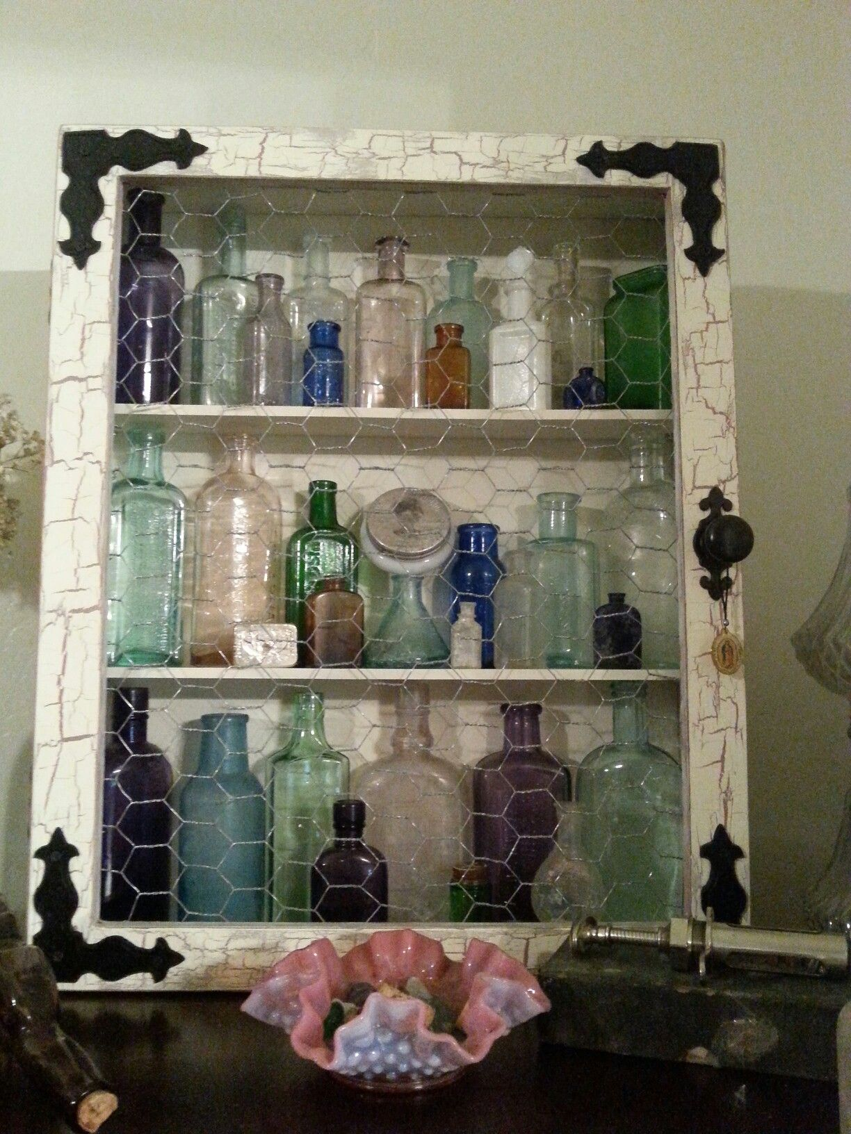Crackle Paint Chicken Wire Cabinet For Antique Bottle Display