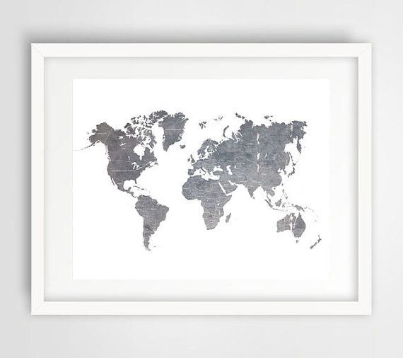 Grey world map wall print gray world map world map poster office grey world map wall print gray world map world map poster office decor gumiabroncs