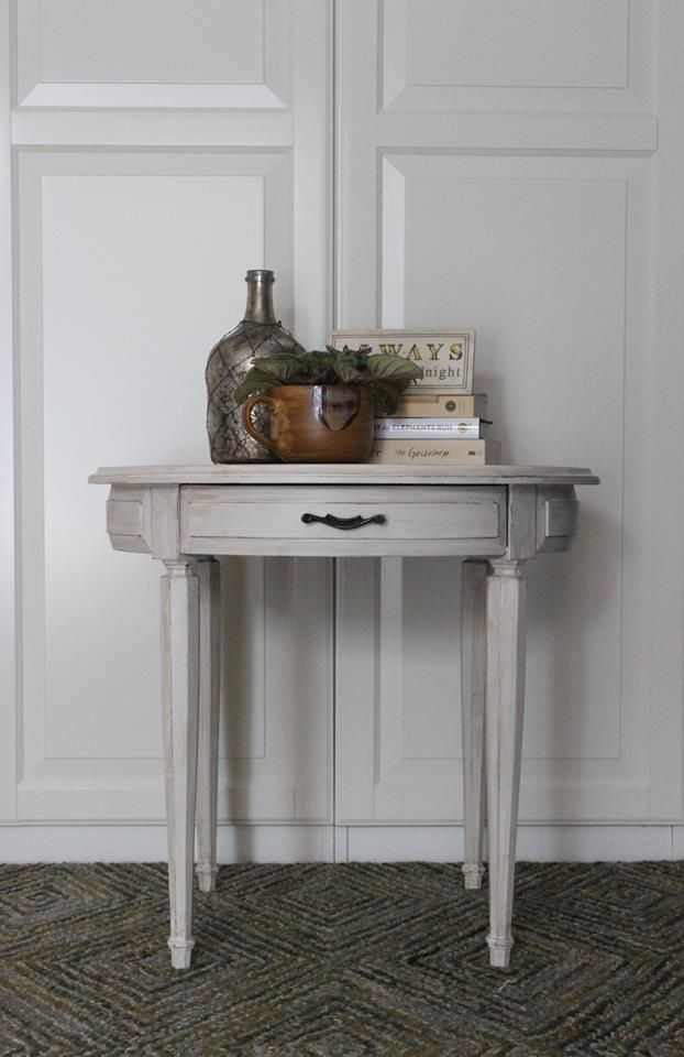 Accent table, Sterling with dry brushed antiquing. Surprise turquoise in the drawer. Facebook @ Salvage Yard Co.