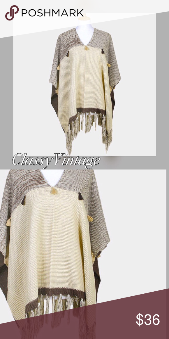 Ivory and brown  tasseled poncho sweater Ivory and brown poncho sweater. Tassels across chest and on hem. Jackets & Coats Capes #ponchosweater