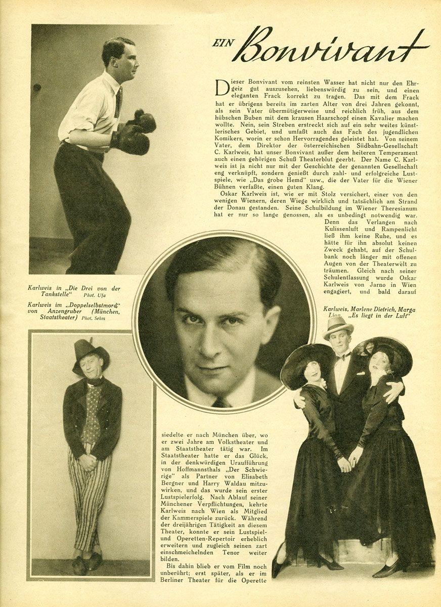 September 1930 page 10 Persons: Oskar Karlweis Marlene Dietrich Margo Lion  Film: Die Drei von der Tankstelle (1930)