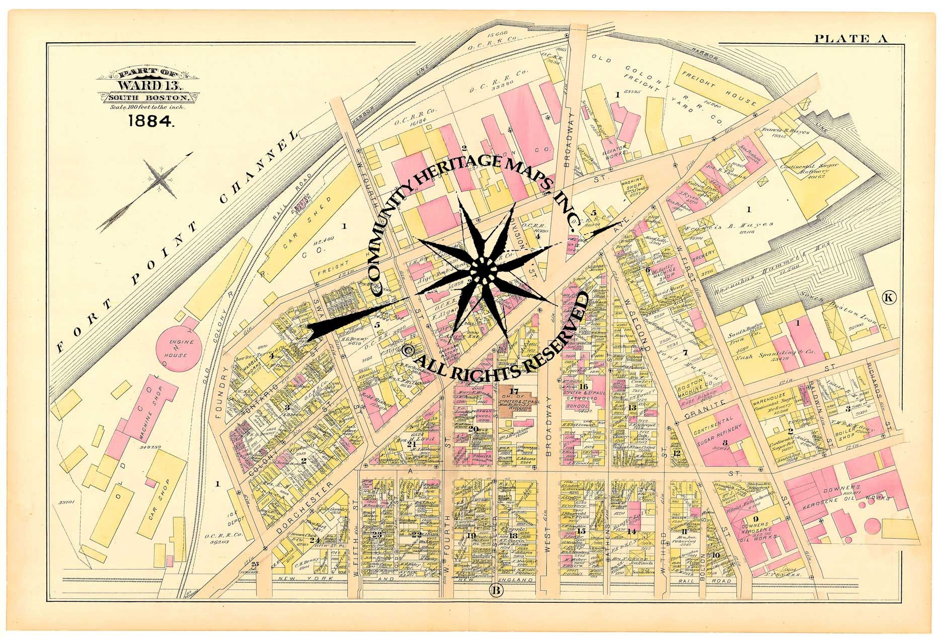 Antique Historic Original and Restored Maps of South Boston ...