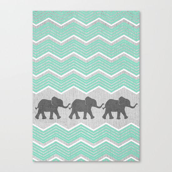 Three Elephants - Teal and White Chevron on Grey Canvas Print