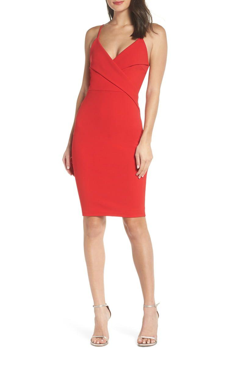 Lulus Pleat Body Con Cocktail Dress Nordstrom Fashion Clothes Women Cocktail Dress Red Cocktail Dress [ 1196 x 780 Pixel ]