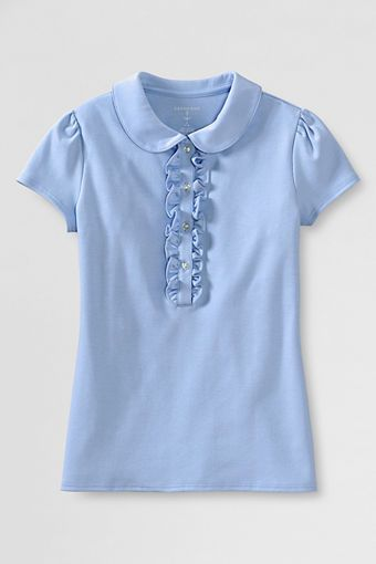 39018dbba34 Girls  Short Sleeve Peter Pan Ruffle Front Knit Polo from Lands  End  20  Size Little Girl   Big Girl sizes
