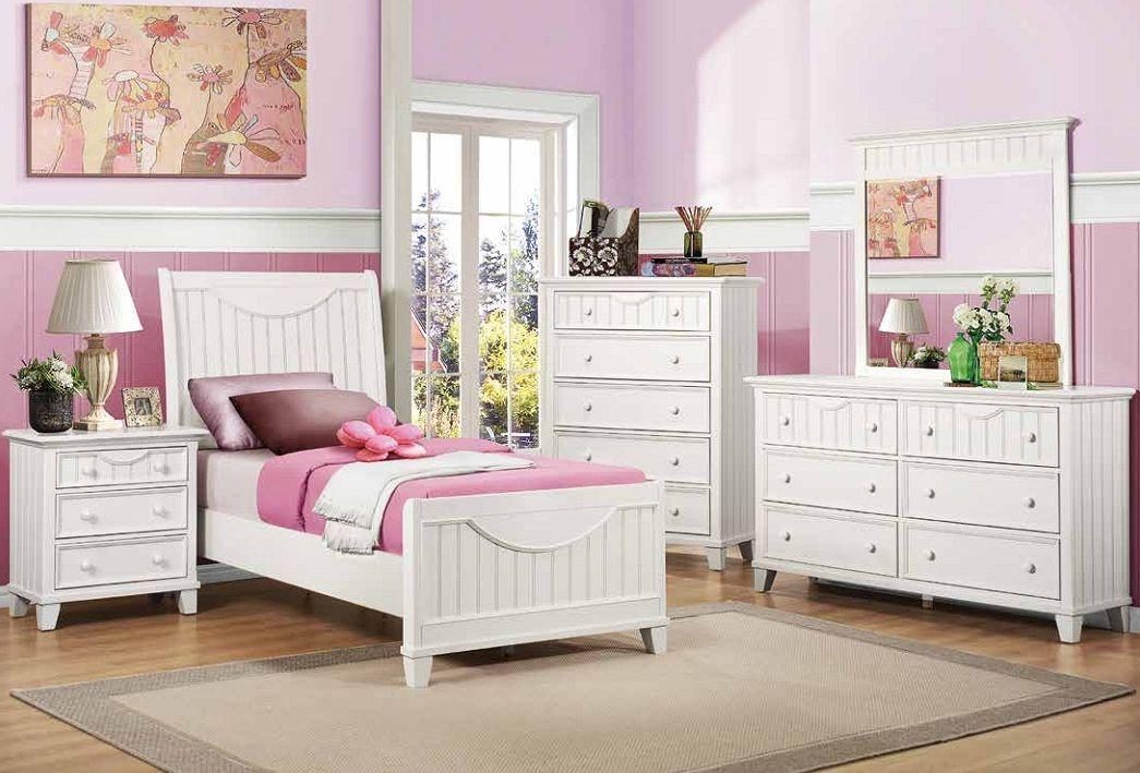 Home Elegance Alyssa White Twin Bed Tempat Tidur Anak Perabot Kamar Tidur Kamar Tidur Anak