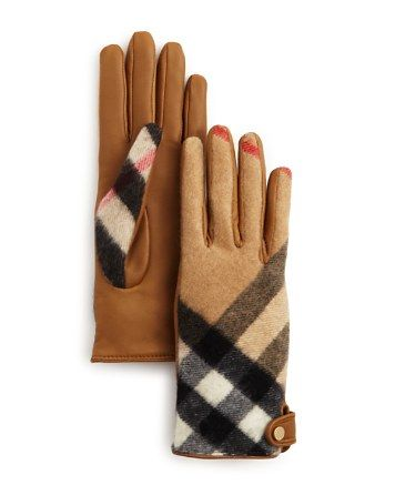 Burberry Charlotte Leather & Cashmere Check Gloves | Bloomingdale's