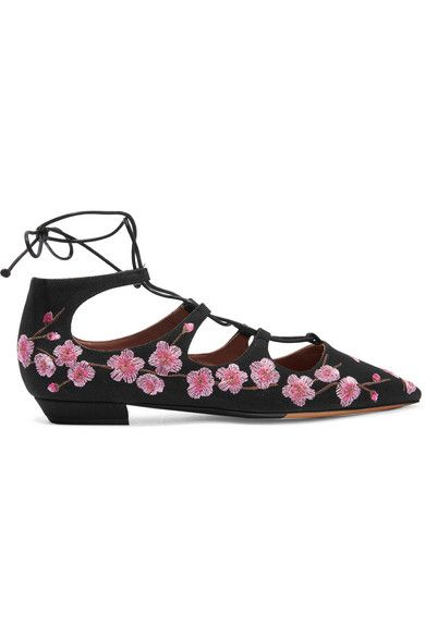 Black · Tabitha Simmons Magnolia Blossom embroidered canvas point-toe flats