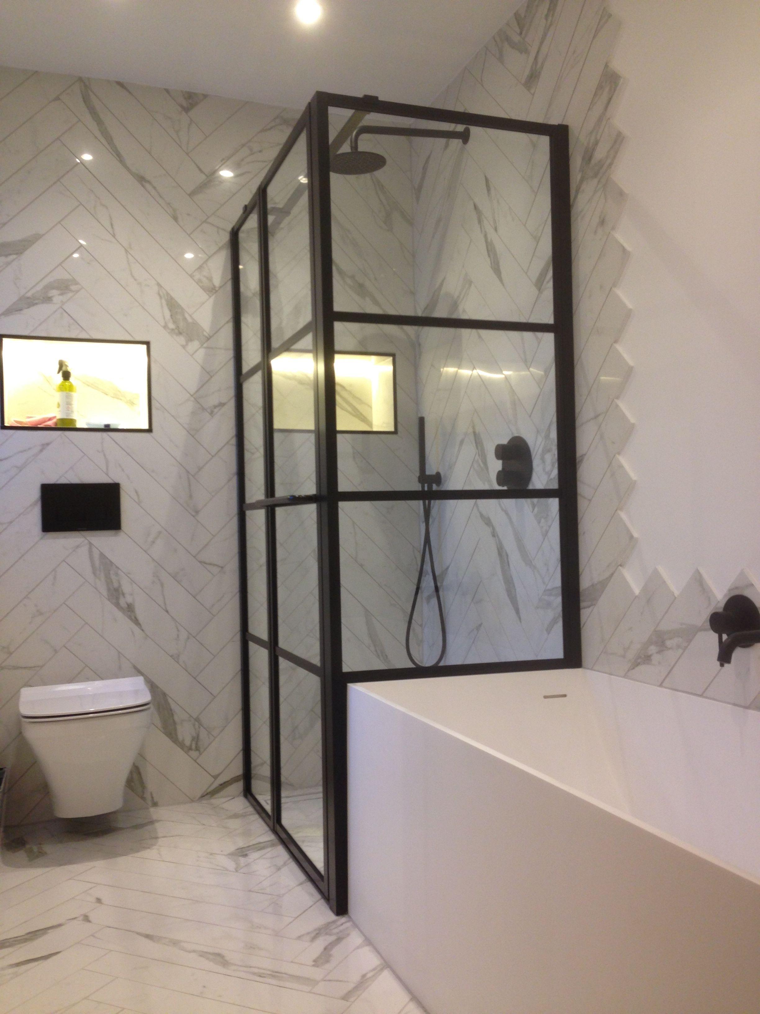 Stylish And Large Black Framed Grid Effect Shower Enclosure In