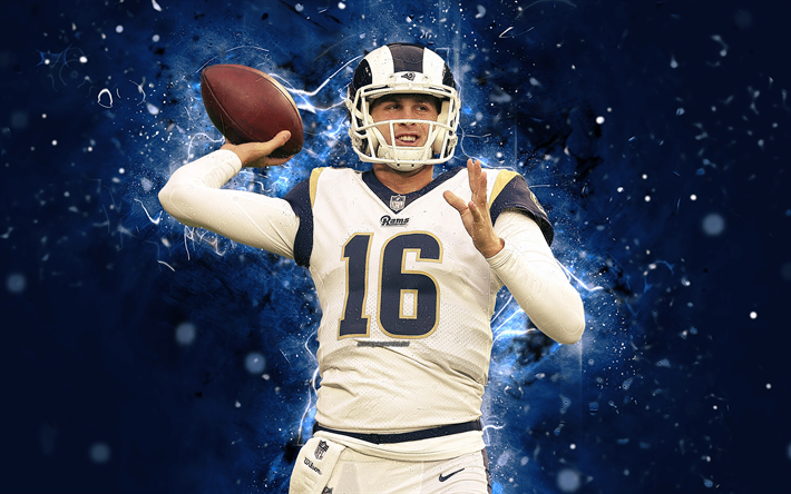 Download Wallpapers 4k Jared Goff Abstract Art Quarterback American Football Nfl Los Angeles Rams Goff National Football League La Rams Neon Lights C La Rams Football American Football
