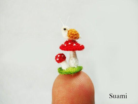 Snail and Mushroom - Micro Amigurumi Crochet Tiny Stuffed Animal ...