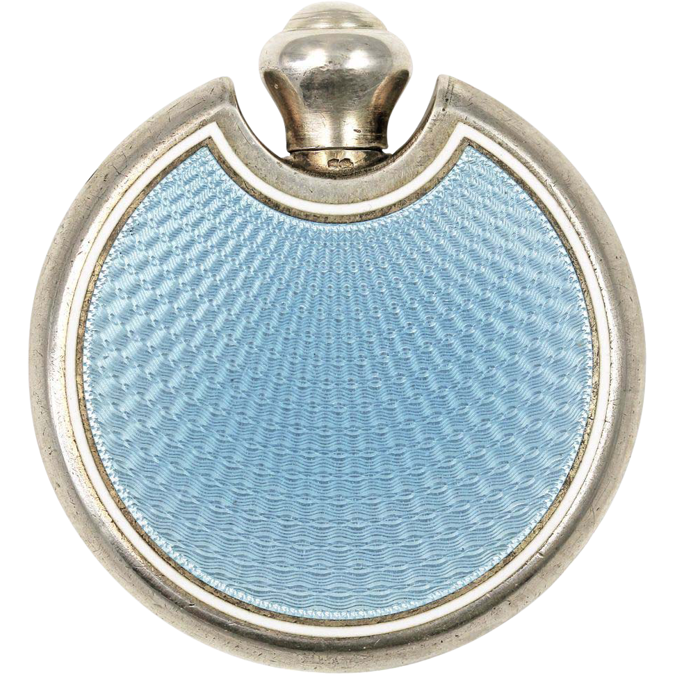 The Deco Haus Tagged Blue: Art Deco Blue Guilloche Enamel Perfume Flask Or Flacon