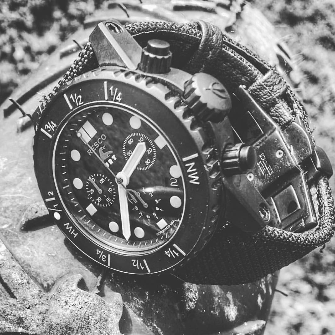 """RESCO Instruments Watch Co. on Instagram: """"Looks like it's coming up on low tide!thank you to @dump_box for he pic of your @urturt version RESCO Manus Chrono with tidal bezel. RE Actual"""""""