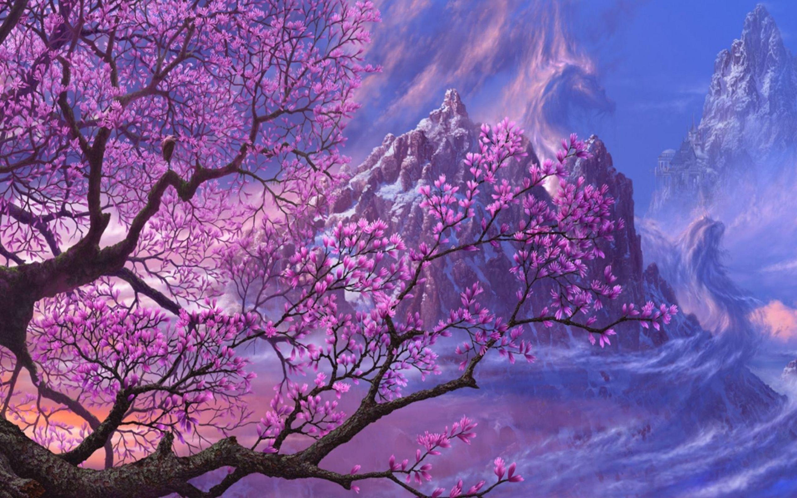 Purple Fantasy Art Asia Artwork Anime 1920x1080 Landscape Wallpaper Fantasy Art Tree Art