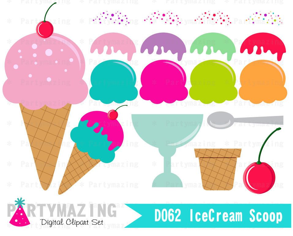 New from Partymazing on Etsy: Ice Cream ClipArt Set Sweet ...  New from Partym...