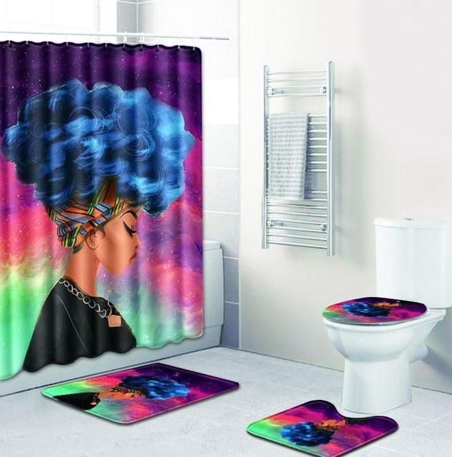 FOUR PIECES AFRICAN WOMAN SHOWER CURTAIN AND NON SLIP RUGS