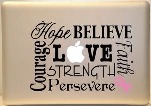 Macbook Decal Breast Cancer Vinyl Decal Subway Art for Laptop or iPad | MakeItMineDesigns - Techcraft on ArtFire