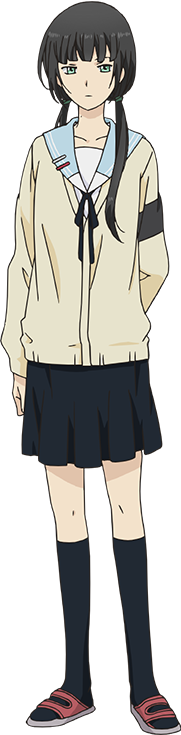 Hishiro Chizuru,A very smart but socially awkward classmate of Arata. She usually scores the top grades in her year, which makes her the class representative and has all her school expenses paid for as a result. She is not only socially awkward but she's also fairy ignorant with regards to anything not directly related to school matters, particularly social and emotional ones. She's always doing research online on whatever she doesn't understand