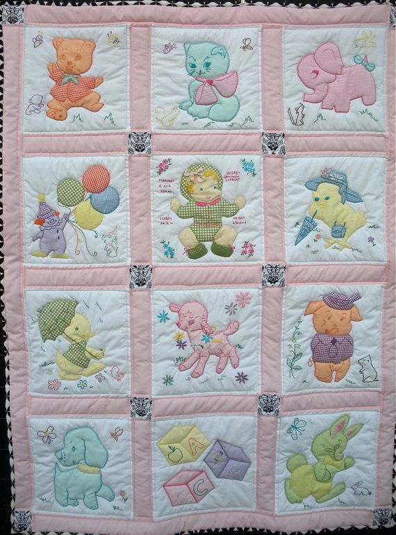 Vintage Baby Quilt Free Shipping To Continental Us