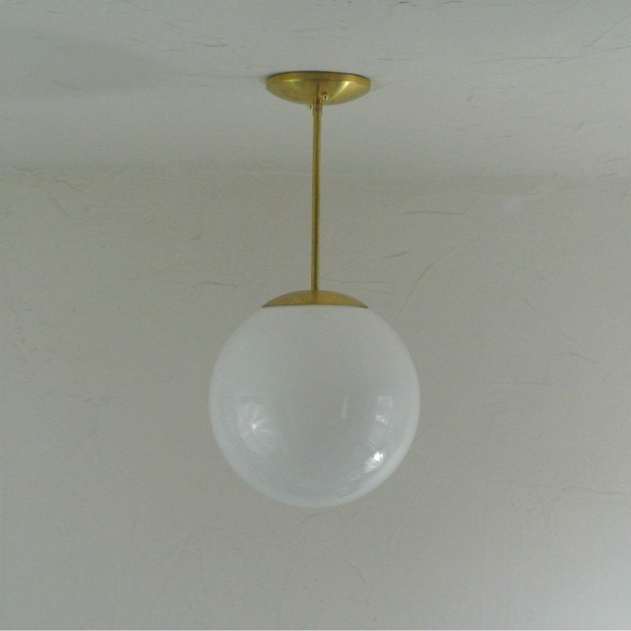 Mid Century Glass Orb Globe Pendant Light Midcentury modern