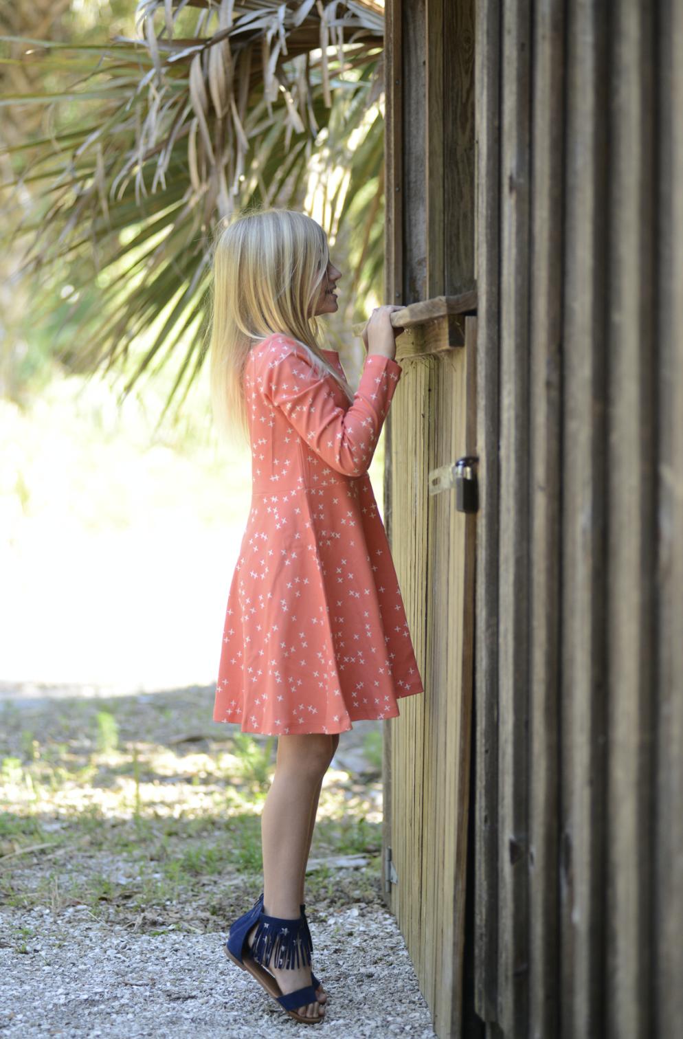 organic cotton childrenus long sleeve jersey knit dress coral