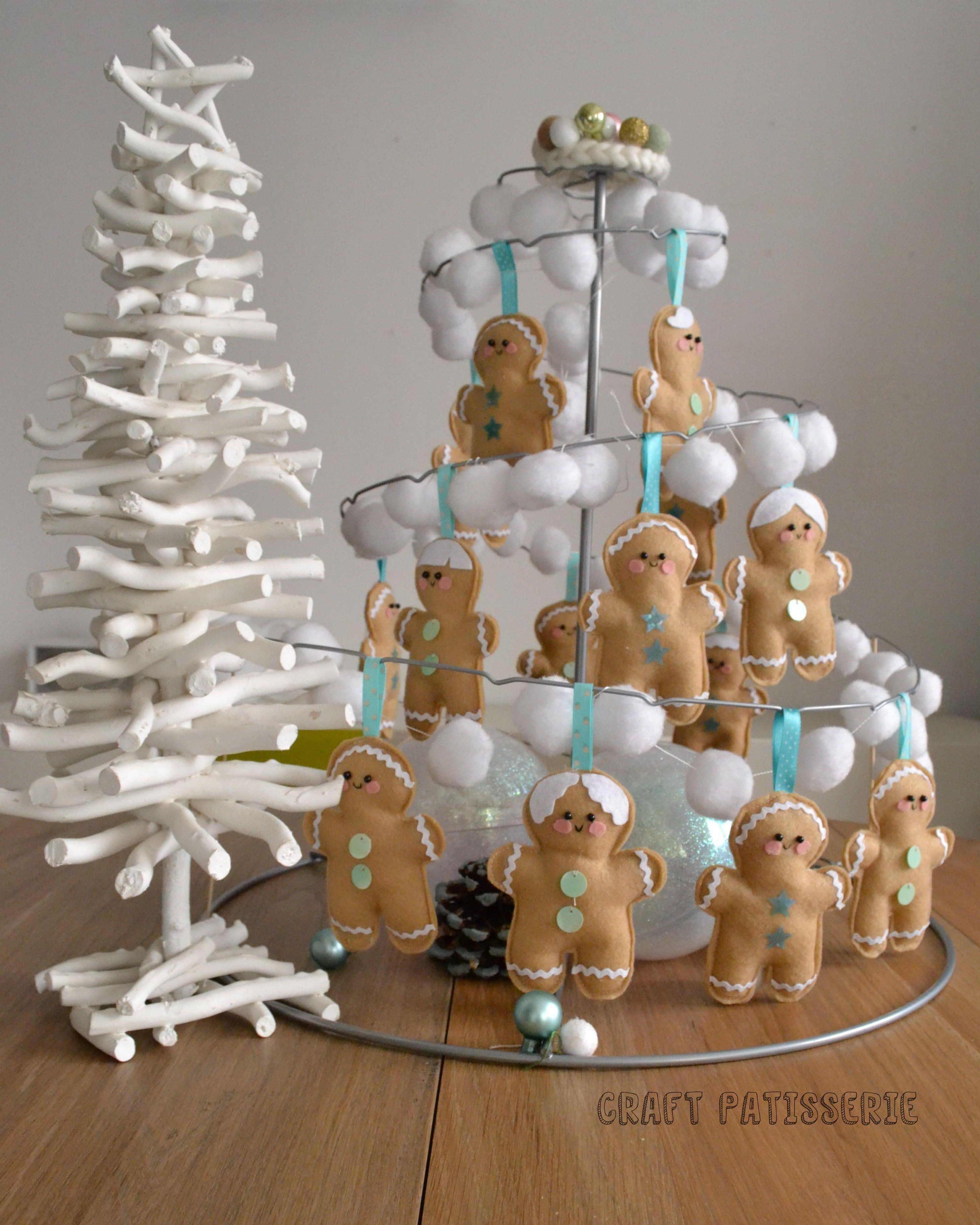 """Zenzini"" gingerbreadman felt decor handmade by craftpatisserie; DIY;  ikea Yrsno stand ."