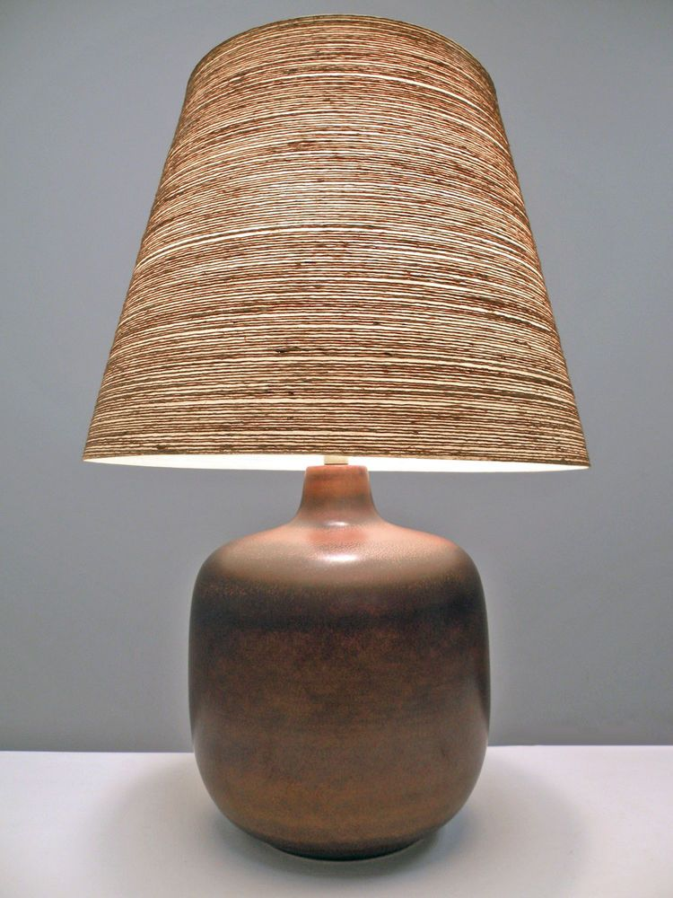 Lotte Bostlund Large Brown Pottery Lamp Fiberglass Shade Danish Modern Style Vtg Lamp Pottery Lamp Danish Modern
