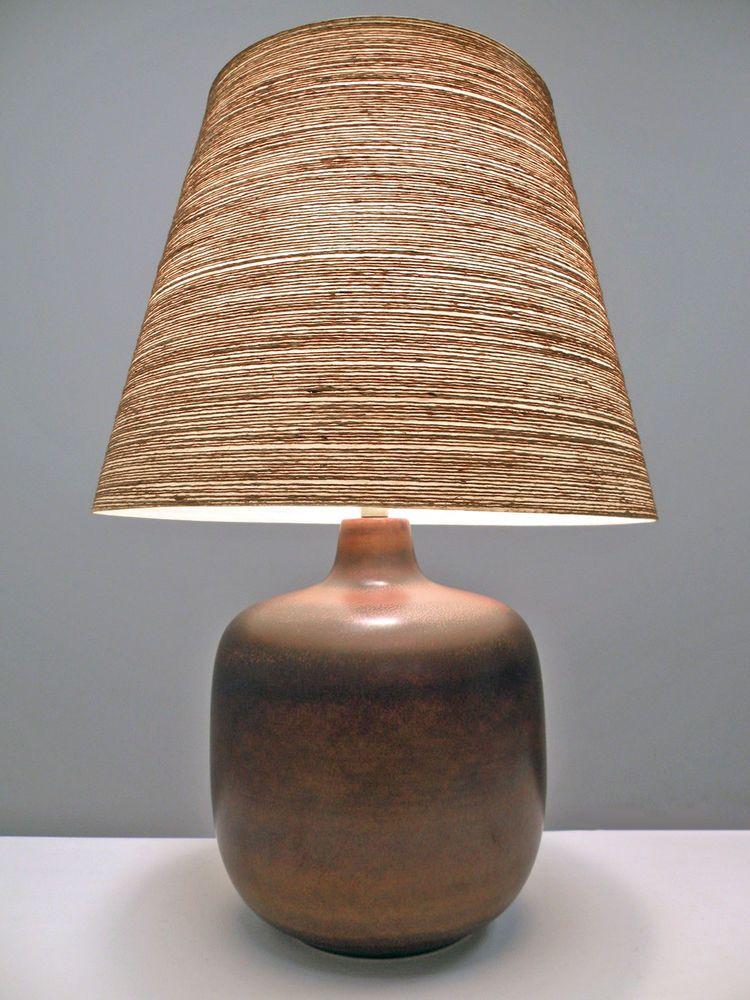 Lotte Bostlund Large Brown Pottery Lamp Fiberglass Shade