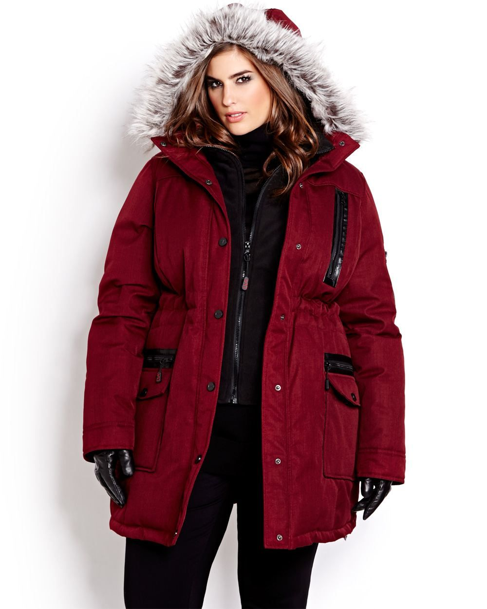 37f166e92b0 Hooded parka jacket by Livik keeps you chic all winter along with down and feather  filling