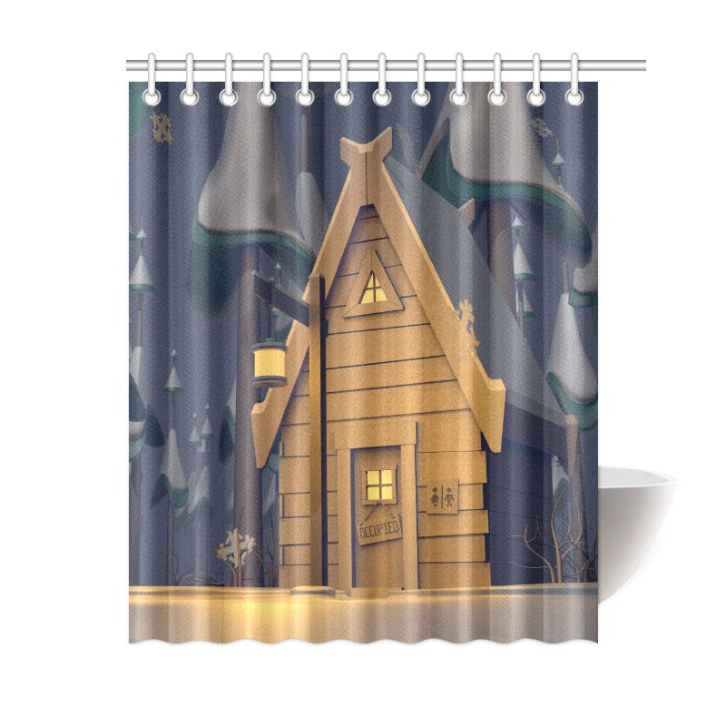 Outhouse Wooden House Polyester Waterproof Bathroom Shower Curtain