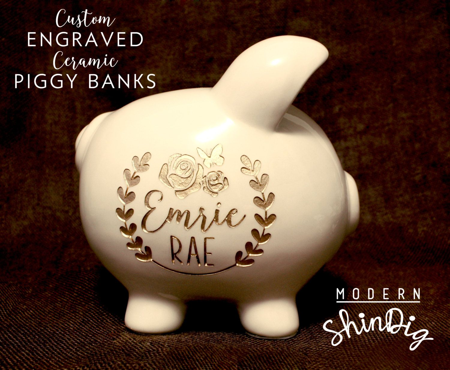 Silver Piggy Bank For Baby Engraved Piggy Bank With Free Custom Design Large Ceramic