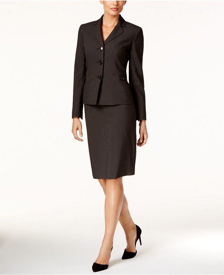 48fe7b1b29108 Le Suit Check-Print Three-Button Skirt Suit