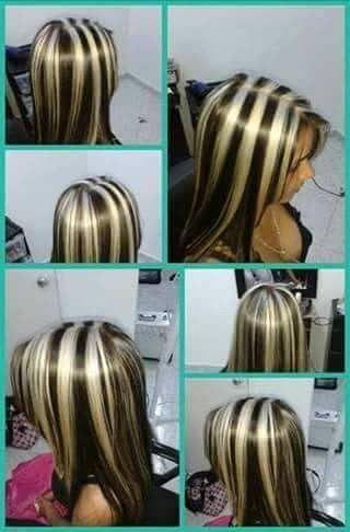 very bold streaks in 2020  brown blonde hair hair