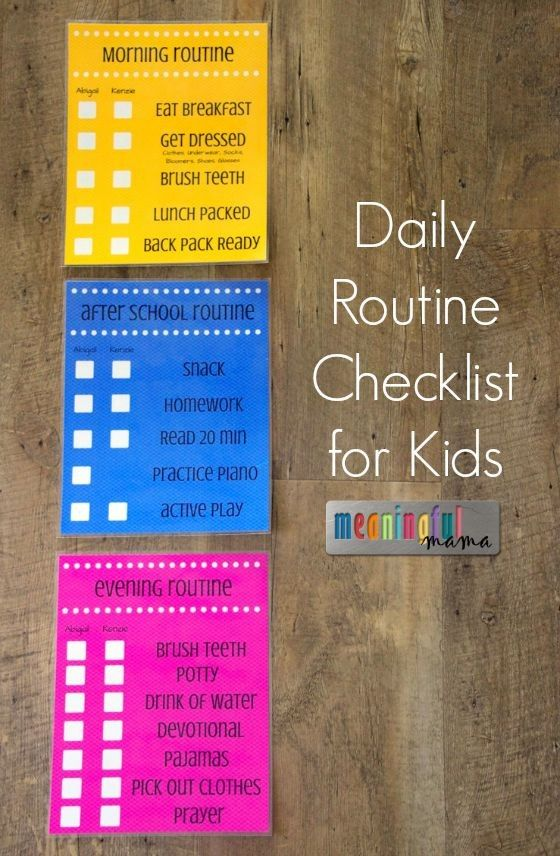 Daily Routine Checklist for Kids Routine, Parents and Organisations