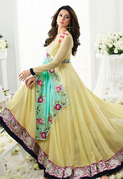 dbcaa77482f87b Best 12 Embroidered Georgette Abaya Style Suit in Yellow ...