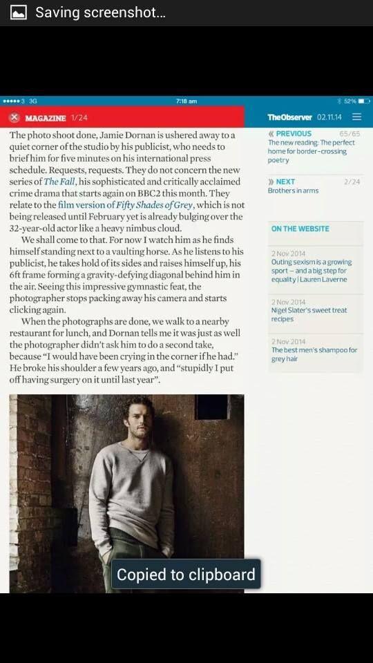 Jamie Dornan, The Observer
