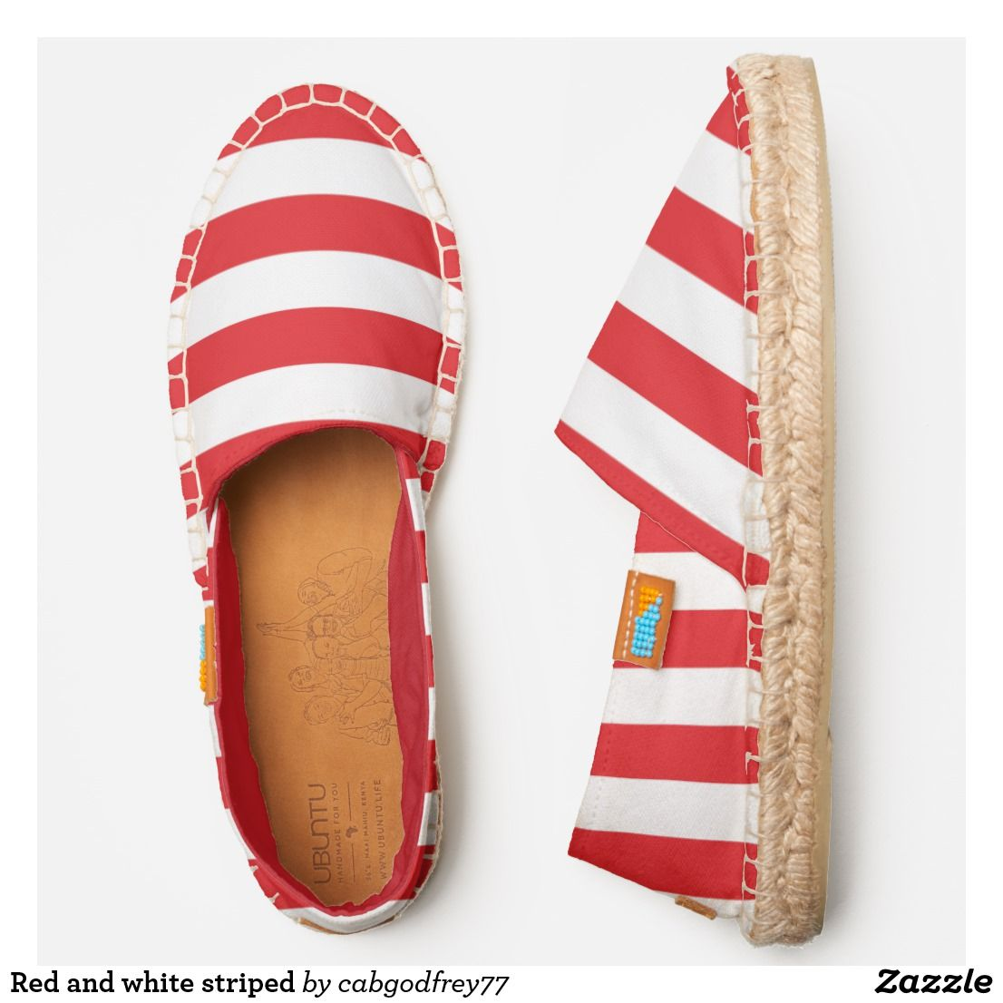 Red and white striped espadrilles