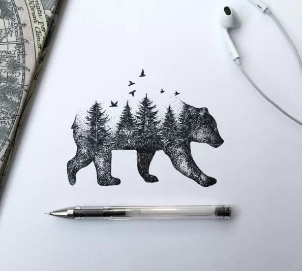 Cool Tattoo Idea Could Even Do It With Different Animals Instead Of A Bear You Could Do A Wolf Pen Illustration Forest Tattoos Nature Tattoos