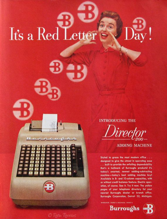 1954 Burroughs Director 200 Adding Machine  from #RetroReveries