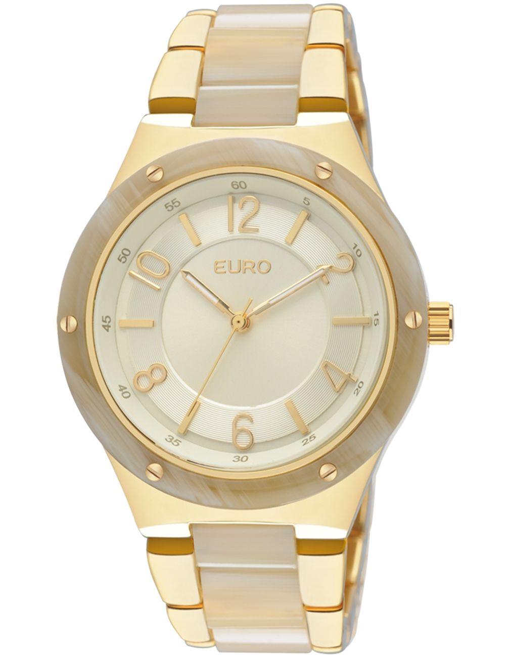 2b12bd8e931 Relógio Feminino Analógico Euro Breslau EU2035TG 4D - Dourado - Relógios no  E-Euro