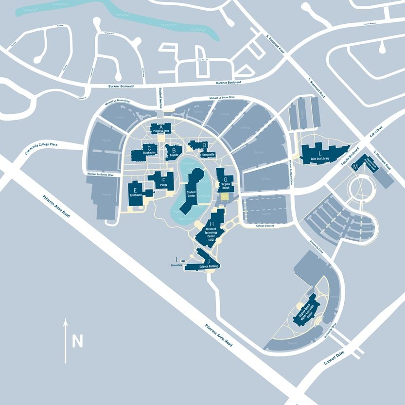 tcc portsmouth campus map Virginia Beach Campus Each Building At The Virginia Beach Campus tcc portsmouth campus map