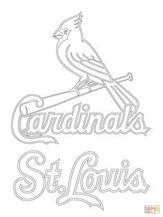 st louis cardinals logo coloring page supercoloringcom