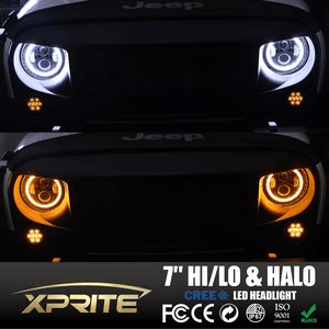 Xprite Jeep Led Headlights With Cree Halo Ring Angel Eyes Drl For