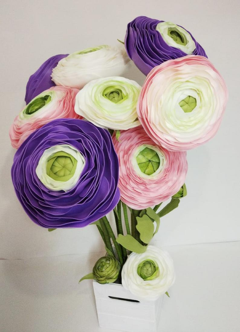 paper flowers 25 3mm mini paper purple rose buds
