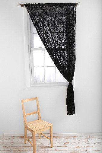 black lace curtains damask velvet burnout