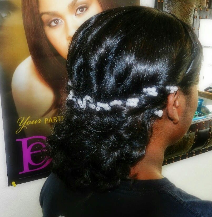 Wedding Hair Style Weave: Curly Weave Wedding Updo Relaxer