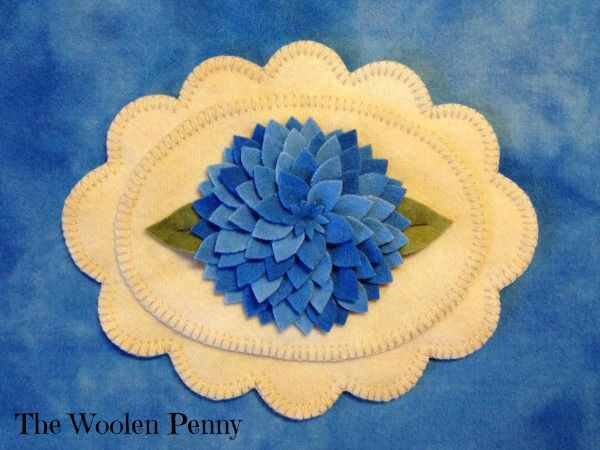 Bloomin dahlias wool applique penny rug candle mat wool
